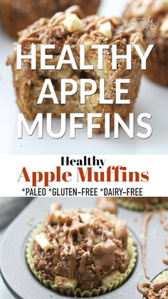 These Healthy Apple Muffins are soft, fluffy and easy to make with wholesome paleo ingredients without any refined sugars or dairy. They are filled with juicy bursts of apple with a cinnamon sugar crumble topping for a delicious fall breakfast or snack for on the go! #paleo #glutenfree #dairyfree