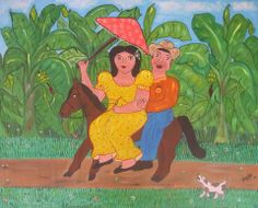 Valentine's Day is close by! This couple wants love without the fuss of a wedding! 'Elopement' by Cuban artist Yanelys Garcia Saavedra. Use COUPON CODE BEMYVALENTINE and get 15% off your purchase at Naive Art Online. http://naiveartonline.com/painting/elopement