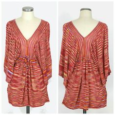 """BCBG Max Azria space dye tunic Sz S. BCBG Max Azria space dye tunic. V-neck & v-back. Big kimono sleeves. Ties at waist. Long length styling. Acrylic. Excellent like new condition. Approx measurements Length 30"""". BCBGMaxAzria Tops Tunics"""