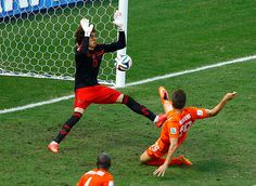 Ochoa makes another great save, this time from Klaas-Jan Huntelaar, who is on in place of Robin van Persie. It turns out Huntelaar was offside but the keeper wasn't to know