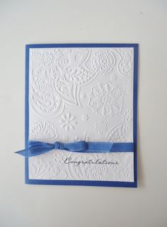Wedding day Congratulations handmade card, Best wishes to the Bride & Groom - cornflower blue,white leaf embossed front, blue ribbon / bow. by JustforUnotes on Etsy