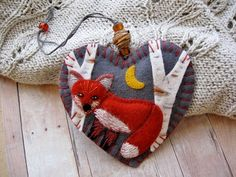Red Fox in Birch Forest Ornament by SandhraLee on Etsy, $19.50