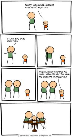 Multiplication, Cyanide and Happiness style!