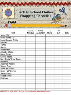 Back to school clothes checklist. I can already predict the value in having a checklist because I go crazy shopping for my daughter. Freakin' cray-cray.
