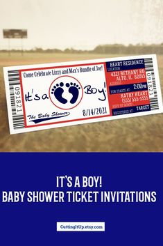 Invite your guests to your Sports Themed Baby Shower with these classic Red White and Blue Ticket Invitations custom designed just for you.  They're printed on real ticket paper!