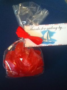 "ahoy it's a boy baby shower: Swedish fish party favor with ""thanks for sailing by"" tag"