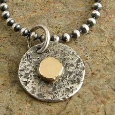 Sterling silver necklace 14k gold dot Rustic oxidized by organikx, $69.00