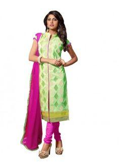 Eid Special Light Green Cotton Chanderi Churidar Suit - RSK1006C