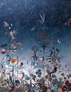 Bleu indigo Papier peint Poppy Zephyre (Jakob Schlaepfer)