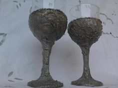 Custom Made Wine Glasses,Collectibles,Antique,Wedding glasses,Silver metalic,Relievo textured, Set of two, Silver goblet