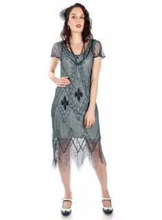This Flapper Style Fringe Party Dress in Blue Grey recaptures the glamour of 1920's fashion. The classic scalloped sleeves and soft V-neck preserve the vintage look, while highlighting the modern fit. Day Dresses, Casual Dresses, Short Dresses, Fashion Dresses, Bride Dresses, Plus Size Flapper Dress, Flapper Style Dresses, 1920s Bridesmaid Dresses, Great Gatsby Party Dress