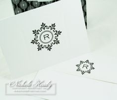hand crafted monogram card and matching envelope ... black and white ... lined enevelope with smaller version of main monogrram  on the flap ...