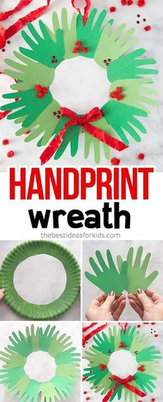 Christmas Crafts for kids to make Christmas Handprint Wreath Craft - this is such an easy Christmas craft for kids to make! Would make a perfect handmade Christmas gift too. Toddlers, Preschool and Kindergarten classes could make a large one. Christmas Arts And Crafts, Handmade Christmas Gifts, Christmas Diy, Childrens Christmas Crafts, Christmas Decorations For Kids, Toddler Christmas Gifts, Christmas Cactus, Christmas Toddler Activities, Christmas Girls