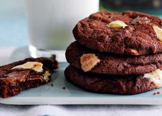 These triple chocolate cookies are chewy in the middle with deliciously crispy edges – what more do you want?