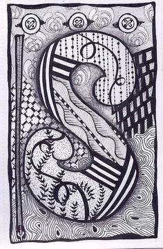 Zentangle, Letter S, Zebra Letters, name, bunting, alphabet. £3.50, via Etsy. Cool button design at the top