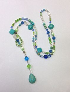 Turquoise Lariat Necklace, Colorful Summer Jewelry, Casual Necklace, Blue Green Crystal Lariat Necklace
