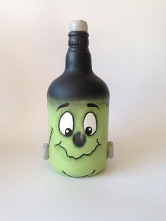 Halloween Frankenstein Bottle/ reporposed wine bottle/ halloween decoration bottle