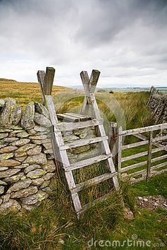 Old wooden ladder stile set against the beautiful Cumbrian countryside. Farm Fence, Fence Gate, Fencing, Wooden Gate Designs, Old Wooden Ladders, Fence Options, Livestock Farming, Ranch Farm, Fence Screening
