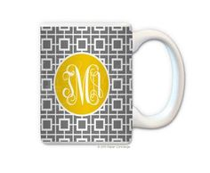 Gray/Yellow Squared Personalized Coffee Mug from Paper Concierge
