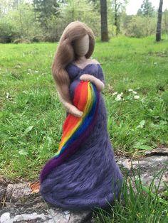 Items similar to Custom Needle Felted Pregnant Rainbow Baby Figurine on Etsy Needle Felted, Wet Felting, Felt Crafts, Fabric Crafts, Selling Handmade Items, Felt Fairy, Rainbow Baby, Waldorf Dolls, Fairy Dolls