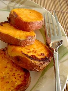 Roasted Sweet Potato Rounds: I peeled and cut them into rounds. Brushed coconut oil (melted) onto foil-lined baking sheet, then onto both sides of rounds. Shook salt & garlic powder onto the top side. Baked 450 for 10 minutes, flipped. Then more garlic & salt, then 8 more minutes.