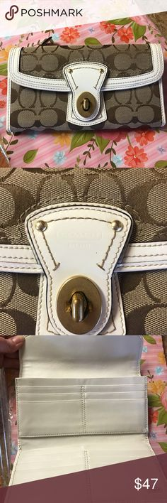 Like new! Coach Wallet Authentic! White/Tan Wallet purchased in summer 2016, and used for maybe a couple months. It is in excellent used condition! I tried to capture any tiny marks on it, but there weren't very many I could find.  Add to your closet, Just in time for spring! Coach Bags Wallets