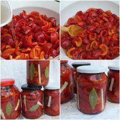 Paradicsompaprika forrázva         Hozzávalók 8-10 db, 7 dl üveghez : 5 kg paradicsompaprika(gogos), 2,5 l víz, 5 dl 9 fokos ecet, ... Shrimp, Stuffed Peppers, Canning, Vegetables, Food, Stuffed Pepper, Home Canning, Vegetable Recipes, Eten