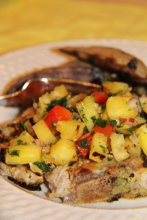 Pan-Grilled Pork Chops with Pineapple Salsa.