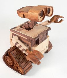 Wooden Wall-E. I'd love one of these, ideally made from recycled wood bien sur.