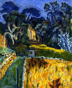 Pierre Bonnard (1867-1947) such a brilliant colourist.  A simple but lively composition using the harmonious palette of blue green yellow