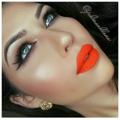 Kat Von d go go orange Lips - Make up :) Orange Lipstick, Matte Lipstick, Pink Lips, Makeup Lipstick, Liquid Lipstick, Eyeshadow, Glam Makeup, Makeup Tips, Beauty Makeup
