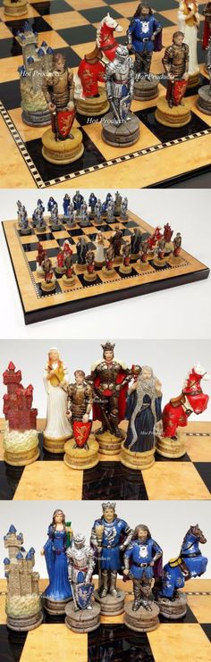 Medieval Times Crusades King Arthur Camelot Knights Chess Set Cherry Color Board
