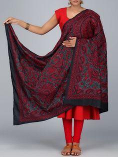 Peacock Motif Kantha Embroidered Dupatta  #Ekatrra #dupatta #stylish #couture #indiandesigner #fashionable #heritage #elegant #dress #suits #sarees #clothing #royalwears #chanderisilk #designerclothing #Stole #Embroidered Shop Now: http://bit.ly/1TUdGt0
