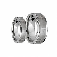 Men & Ladie's 8MM/6MM Brushed Center With Laser Cross Engraved Shiny Edge Tungsten Carbide Wedding Band Ring Set , Ladies Size 6 - Mens Size 12 Tungsten Ring Set http://www.amazon.com/dp/B00RBFVX26/ref=cm_sw_r_pi_dp_bhrzwb01GQJNB