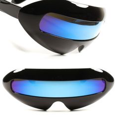 cbf4c1794f Details about Space Robot Costume Rave Party Cyclops Futuristic Blue    Green Lens Sunglasses