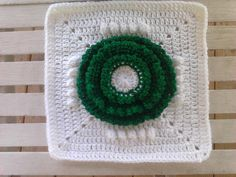 """One Crochet Day at a Time: FLOWER WREATH 12"""" DECEMBER 2011 SQUARE"""