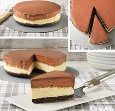 Receta de tarta de queso con mousse y ganache de chocolate