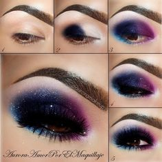 Galaxy eye shadow look! A tint of pink, navy, teal, white, royal purple (plum) and your out of this world.
