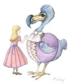ALICE IN WONDERLAND ORIGINAL WATERCOLOR PAINTING DODO BIRD ART B SAVOVA