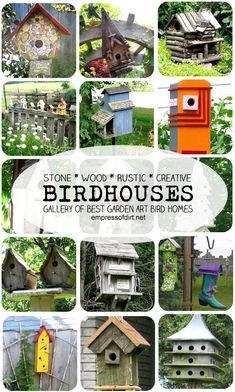 Birdhouses - a gallery of garden art bird home styles including stone, wood, rustic, junk, modern, and quirky.
