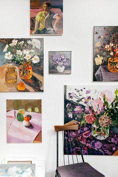 Painting bySydney artistLaura Jones, hanging in her studio. Photo -Rachel Karafor The Design Files.