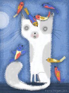Cat and Birds (by Terry Runyan) ♥♥♥ Gato e Passarinhos (de Terry Runyan)