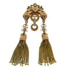 Victorian Tassel Brooch, Gold, Enamel and Natural Pearls, 1880