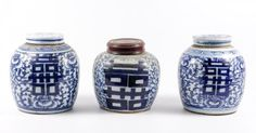 Group of 3 Chinese Double Happiness Ginger Jars : Lot 621. Hammer Price: $225