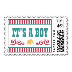 Fun Circus Baby Shower Stamps