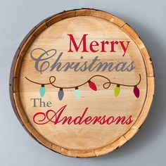 Get into the Christmas spirit and spread good cheer with this Personalized Christmas Barrel Sign, featuring your choice of two festive and attractive designs. Whether you choose the colorful strung Christmas lights or intricately designed snowflakes, your family and friends will love this personalized wooden sign.