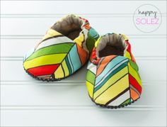 Bright Funky Chevron Baby Booties by Happy Solez
