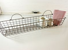 Vintage Metal Wire Basket Narrow Rectangle Wall Hanging