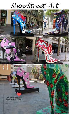 Sapatos gigantes nas ruas de Madrid