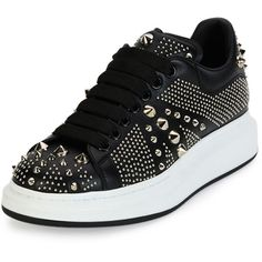 Alexander McQueen Studded Leather Low-Top Sneaker ($945) ❤ liked on Polyvore featuring mens, men's shoes, men's sneakers and black